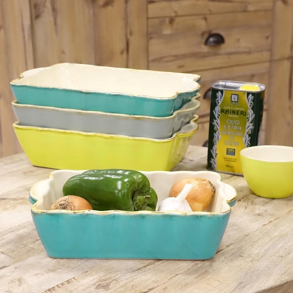 Auflaufform Keramik mit Silikongriffe 30 cm weiss//grün quadratisch