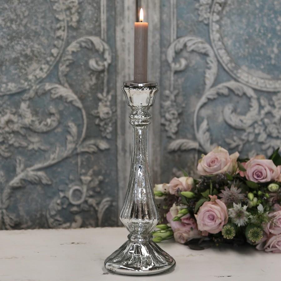 ferrum living chic antique glas kerzenst nder antik silber. Black Bedroom Furniture Sets. Home Design Ideas