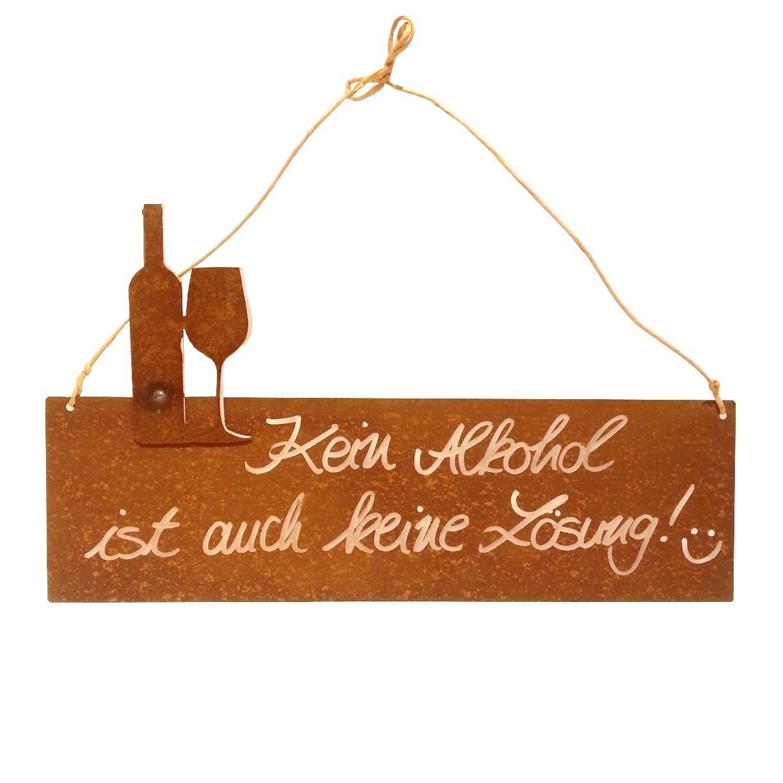 ferrum living rostiges schild mit spruch kein alkohol. Black Bedroom Furniture Sets. Home Design Ideas
