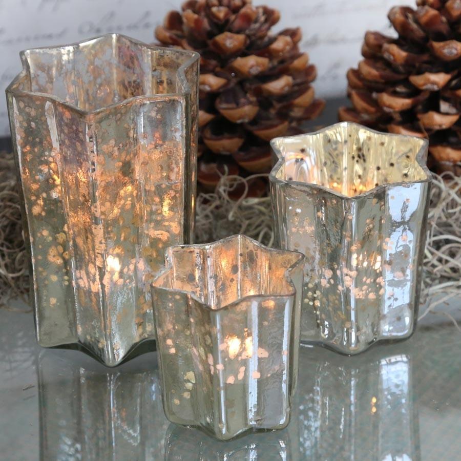 Ferrum living windlicht stern glas antik silber m for Verspiegelte deko