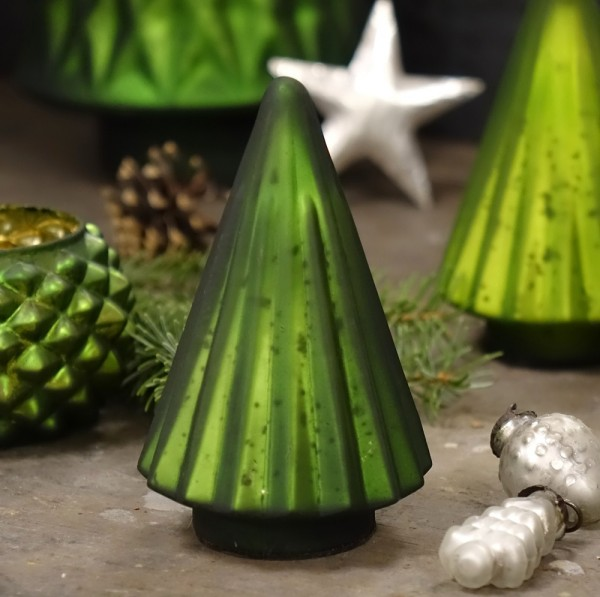 Grün & Form Glasbaum dunkelgrün klein H13 cm