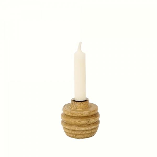 """Mangoholz Kerzenständer """"Bee"""" klein mit Kerze"""