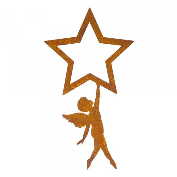 Edelrost Engel hängend an Stern