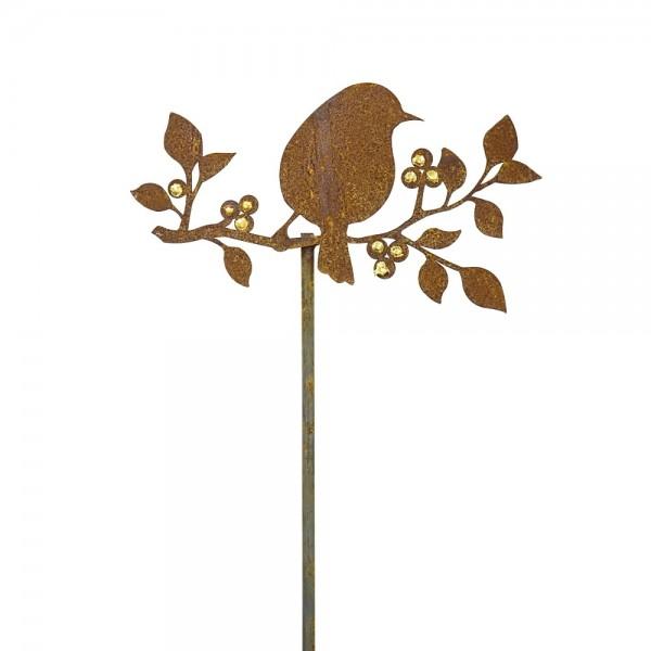 Edelrost Gartenstecker Vogel auf Goldbeeren Ast