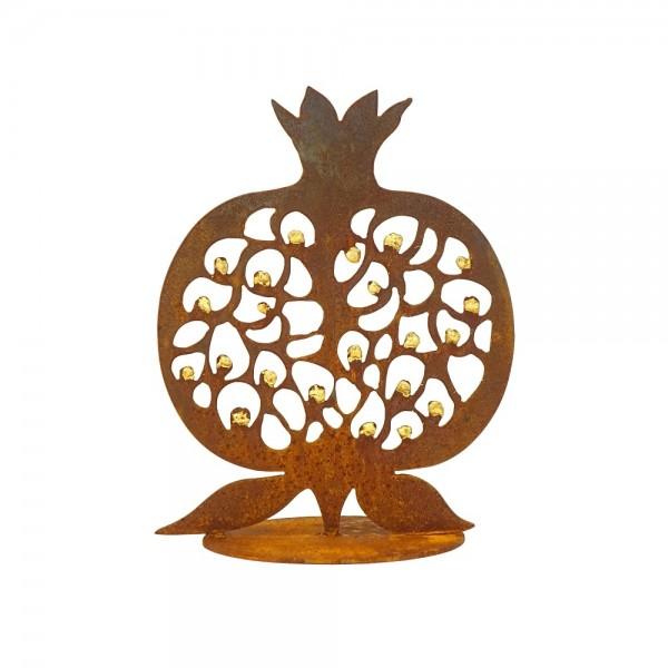 Edelrost Granatapfel mit Goldkernen H 30 cm