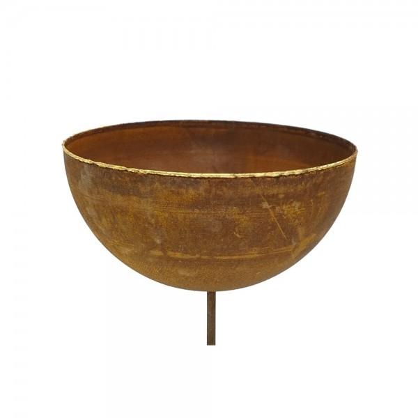 Edelrost Halbkugel Schale mit Goldrand M Ø30 cm mit kurzem Stab