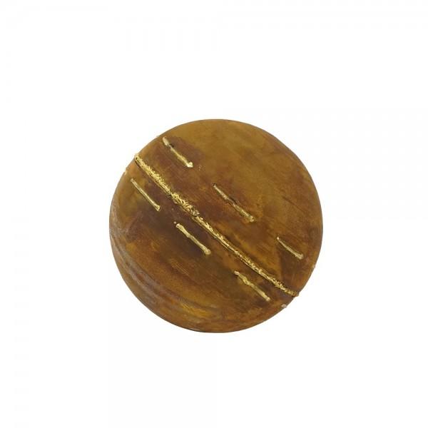 Edelrost Kugel mit unregelmäßigen Goldstreifen S Ø25 cm
