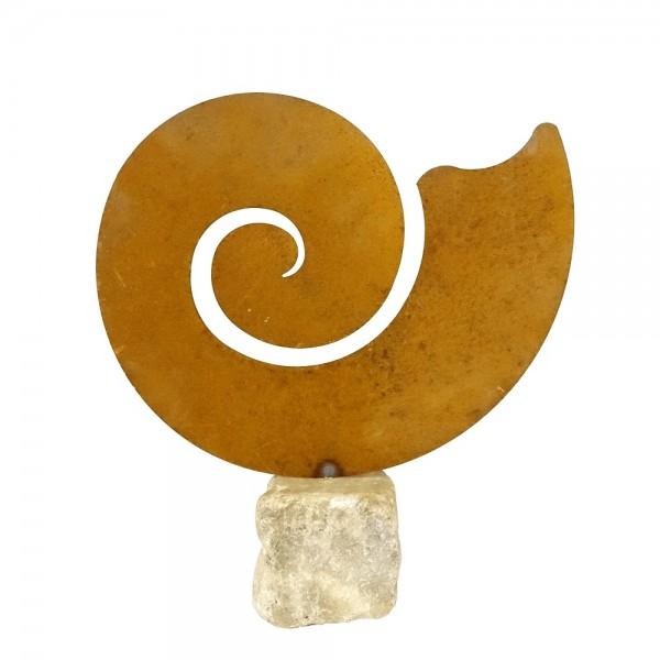 Edelrost Muschel auf Stein H32,5 cm