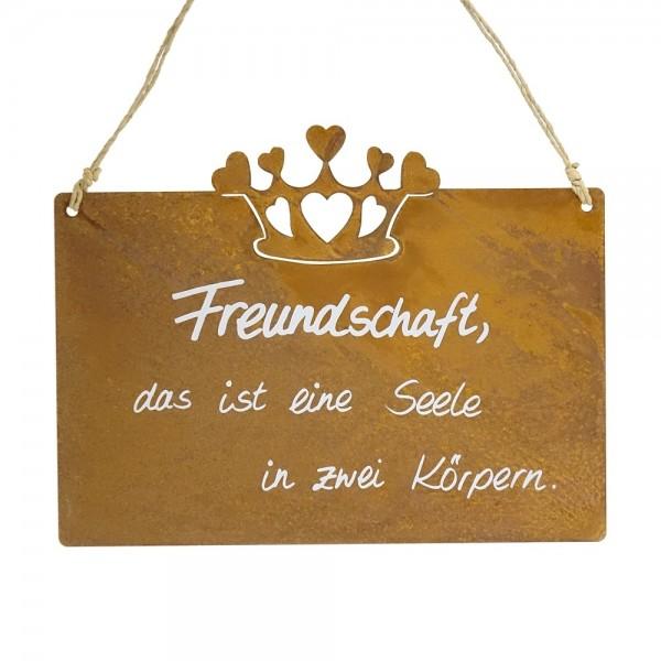 Edelrost Spruchtafel mit romantischer Krone | Freundschaft