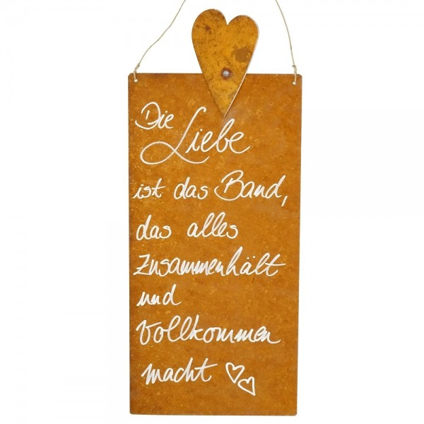Rostige Spruchtafel L Herz | Die Liebe ist...
