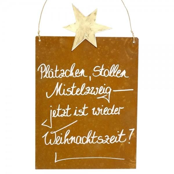 Edelrost Spruchtafel M Stern | Weihnachtszeit