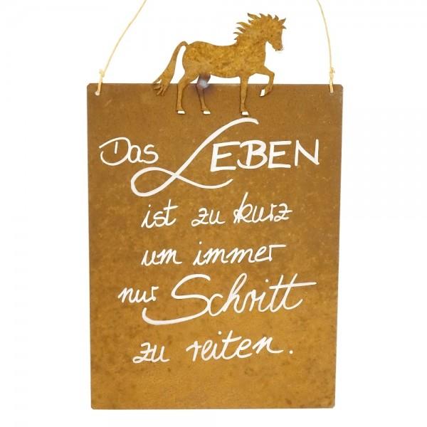 Edelrost Spruchtafel M Pferd | Leben