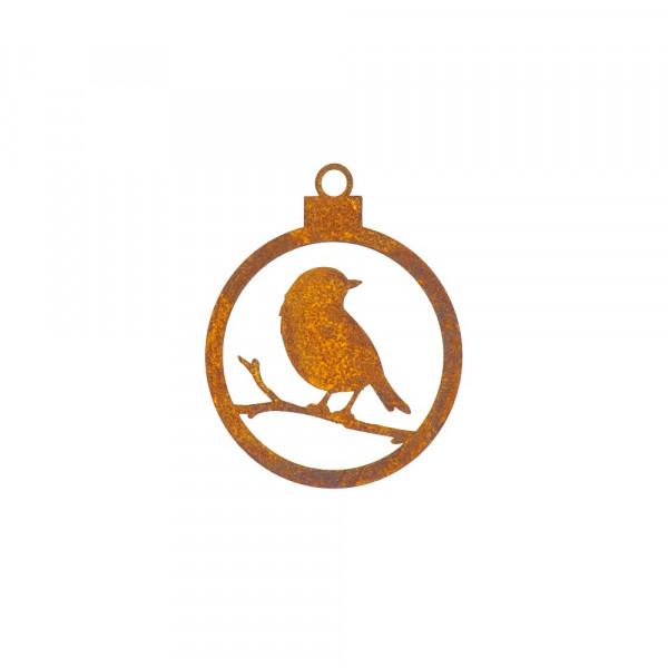 Edelrost Christbaumkugel offen mit Vögelchen
