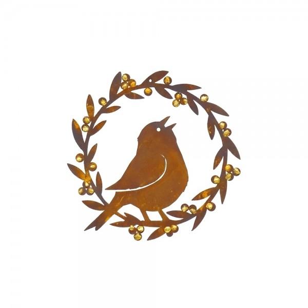 Edelrost Kranz mit singendem Vogel und Goldbeeren Ø 21 cm
