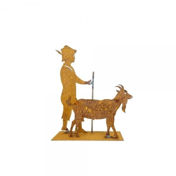 Edelrost Ziegenpeter mit Stock und Ziege