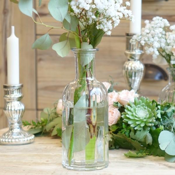 """Glas Flasche """"Jolie"""" mit Rillen H19,5 cm"""