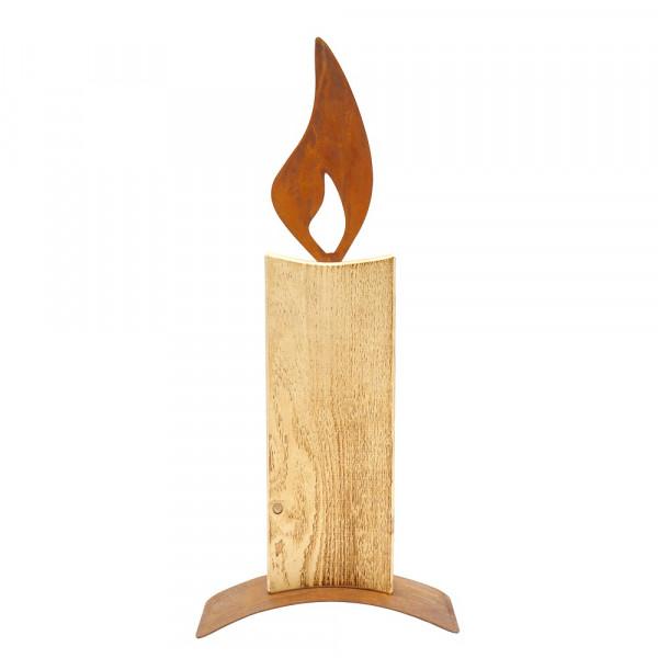 Holz Kerze mit Edelrost Flamme