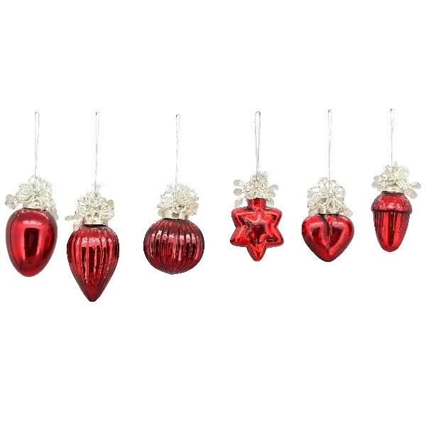 6er Set Kleiner Christbaumschmuck rot mit Perlenschmuck