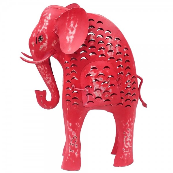 Metall Elefant Laterne XL pink-rot H 58 cm