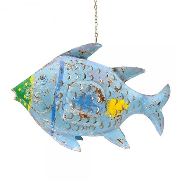 Metall Fisch L blau zum Hängen und Stellen
