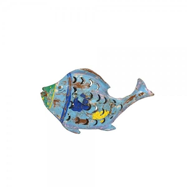 "Metall Fisch Laterne ""Fin"" S blau"