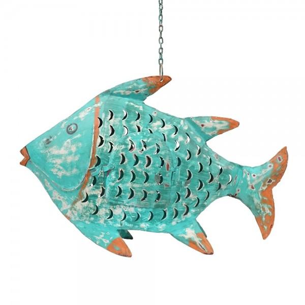 Metall Fisch L türkis zum Hängen und Stellen