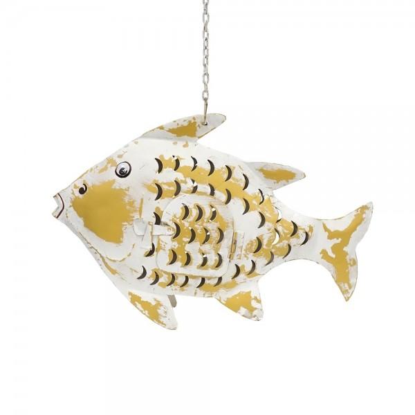 Metall Fisch M weiß-gold zum Hängen und Stellen