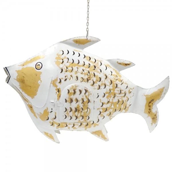 Fisch Metall XXL weiß-gold zum Hängen und Stellen