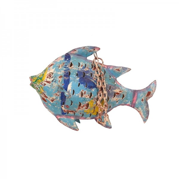 Metall Fisch zum Hängen S blau