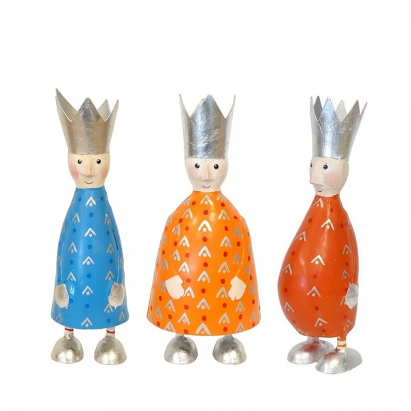 Heilige Drei Könige Metall 3er Set M mit Schlagsilber
