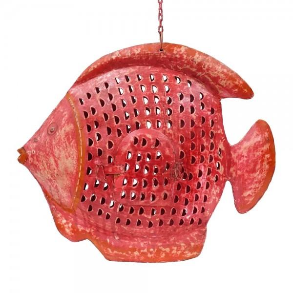 Metall Kugel Fisch Laterne XL pink-rot zum Hängen und Stellen
