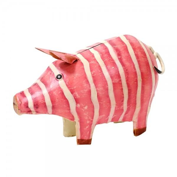 """Metall Spardose Schwein """"Lissi"""" groß pink"""