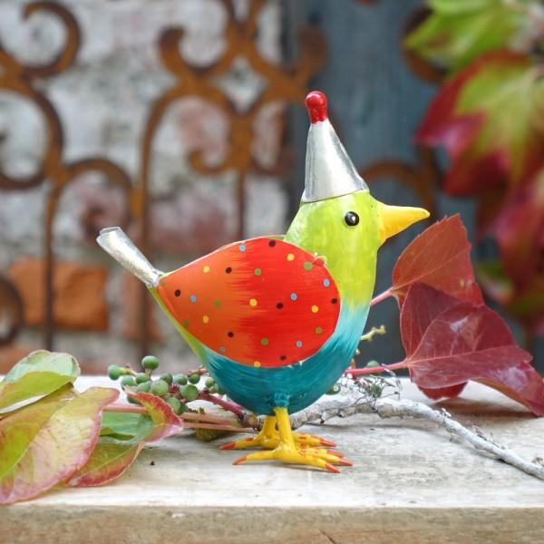 """Metall Vogel """"Rico"""" M grün mit Mütze H17 cm"""