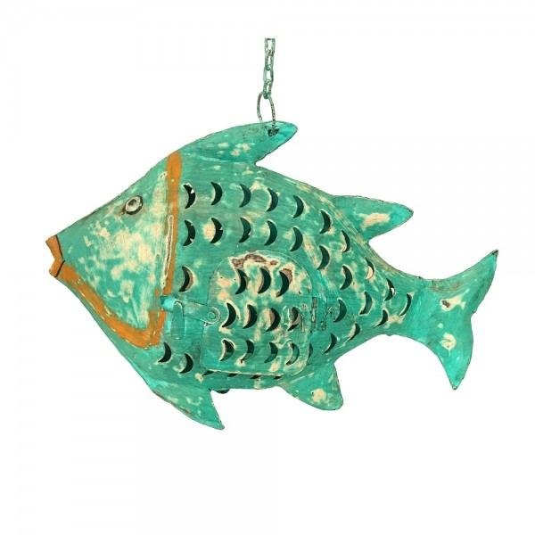 Metall Fisch zum Hängen groß türkis-grün