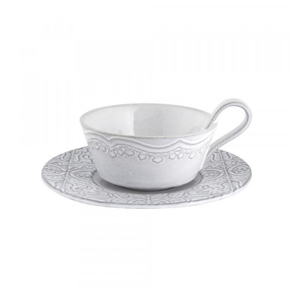 Portugiesische Keramik Tasse mit Untertasse antikweiß