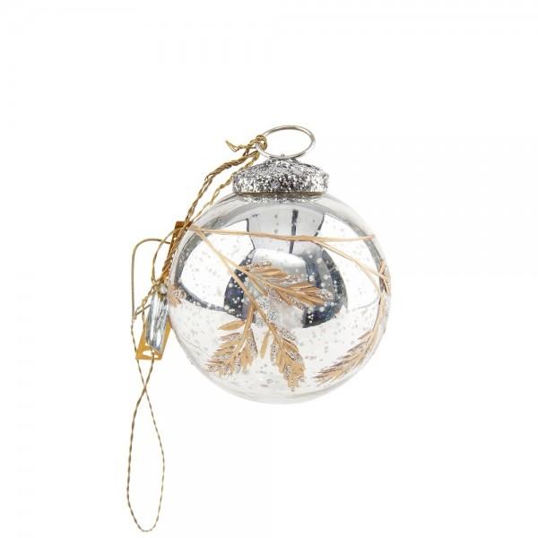 Christbaumkugel mit geschliffenem Tannenzapfen bauernsilber mit gold