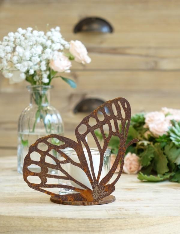 Edelrost Schmetterling klein mit Platte H13 cm