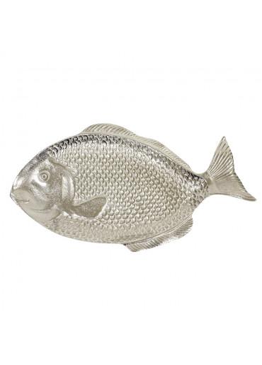 Deko Fisch Teller Alu vernickelt groß