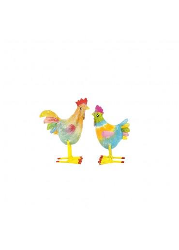 Bunte mini Metall Hühner zum Stellen