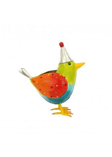 """Metall Vogel """"Rico"""" L grün mit Mütze H20,5 cm"""