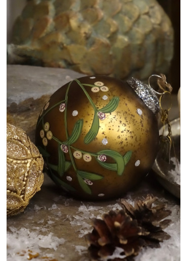 Walther & Co Christmas Bauble with Misteltoe golden