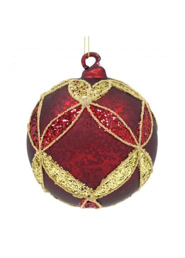 Shishi Glas Weihnachtskugel dunkelrot