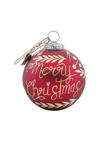 """Handbemalte Christbaumkugel """"Merry Christmas"""" rot gold"""