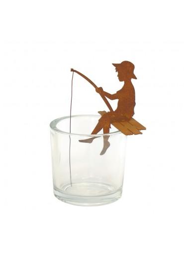 """Edelrost Angler """"Finn"""" als Kantenhocker H 15,5 cm"""