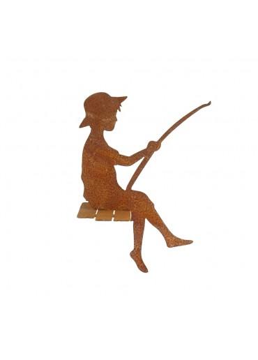 """Edelrost Angler """"Finn"""" als Kantenhocker H 30 cm"""