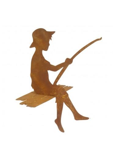 """Edelrost Angler """"Finn"""" als Kantenhocker H 41,5 cm"""