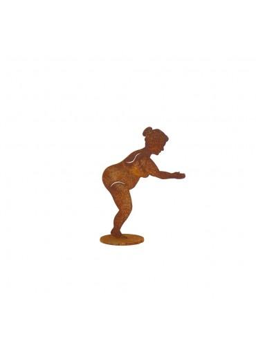 """Edelrost Badenixe """"Dora"""" springend auf Platte H 15 cm"""