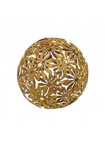 """Edelrost Blumen Kugel """"Margerite"""" mit Goldpunkten Ø 40 cm"""