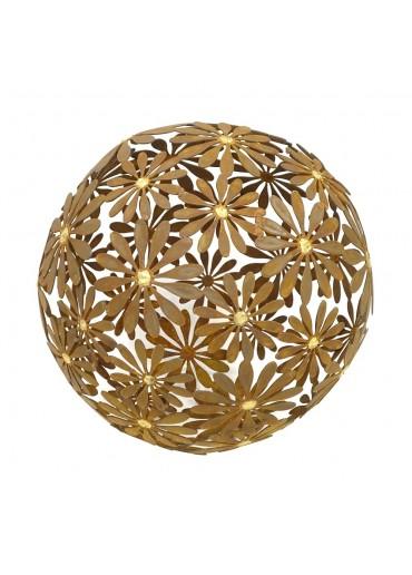 """Edelrost Blumen Kugel """"Margerite"""" mit Goldpunkten Ø 50 cm"""