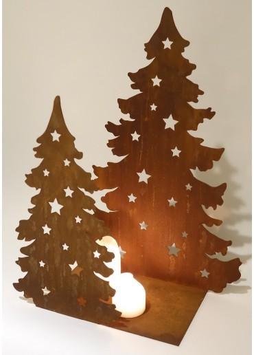 Edelrost Doppel Tanne mit eckiger Platte H50 cm